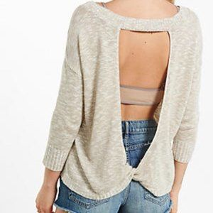 EXPRESS Open Back Twisted Sweater Top in Ivory